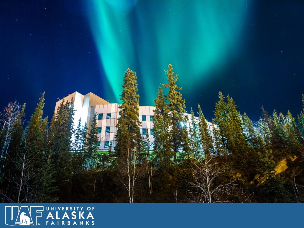 The aurora light up the sky above campus.
